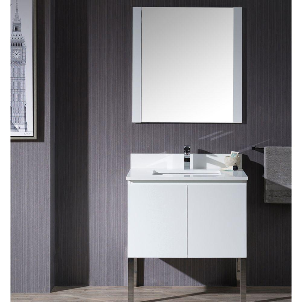 "Monaco Modern 30"" Matte White Bathroom Vanity Set with Mirror and Chrome Legs"