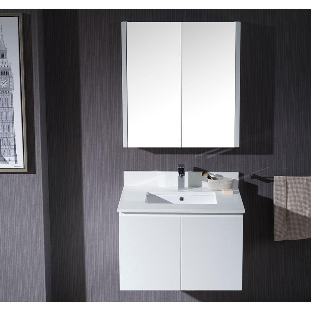"Monaco Modern 30"" Matte White Wall Mount Bathroom Vanity Set with Medicine Cabinet"