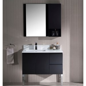 "Monaco Modern 36"" Espresso Left Bathroom Vanity Set with Mirror, Wall Cabinet and Chrome Legs"