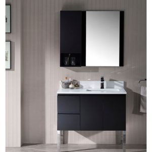 "Monaco Modern 36"" Espresso Right Bathroom Vanity Set with Mirror, Wall Cabinet and Chrome Legs"