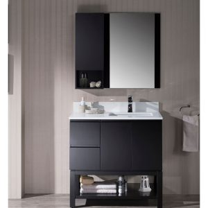 "Monaco Modern 36"" Espresso Right Bathroom Vanity Set with Mirror, Wall Cabinet and Wood Legs"