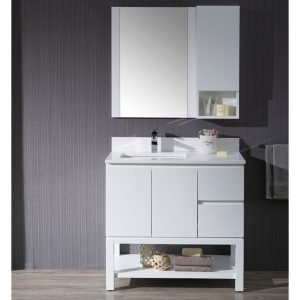 "Monaco Modern 36"" Matte White Left Bathroom Vanity Set with Mirror, Wall Cabinet and Wood Legs"