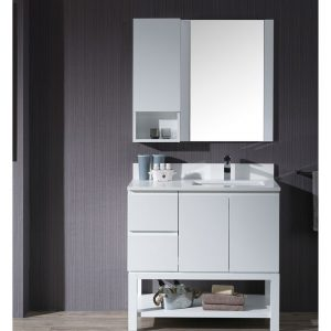 "Monaco Modern 36"" Matte White Right Bathroom Vanity Set with Mirror, Wall Cabinet and Wood Legs"