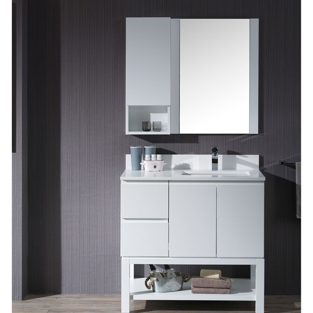 """Monaco Modern 36"""" Matte White Right Bathroom Vanity Set with Mirror, Wall Cabinet and Wood Legs"""