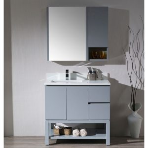"Monaco Modern 36"" Metal Gray Left Bathroom Vanity Set with Mirror, Medicine Wall Cabinet and Wood Legs"