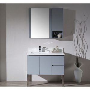 "Monaco Modern 36"" Metal Gray Left Bathroom Vanity Set with Mirror, Wall Cabinet and Chrome Legs"