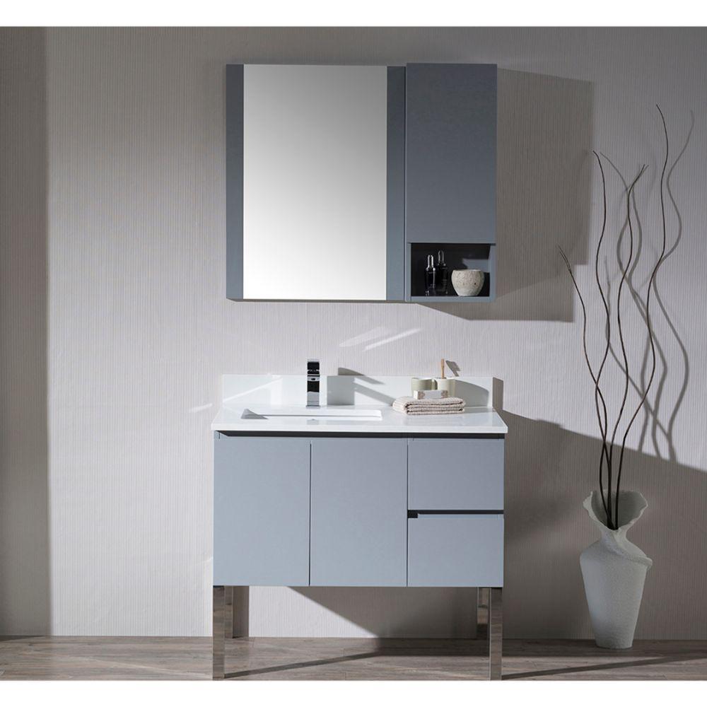 "Monaco Modern 36"" Metal Gray Left Bathroom Vanity Set with Mirror, Wall Cabinet and Chrome Legs"