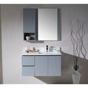 """Monaco Modern 36"""" Metal Gray Wall Mount Right Bathroom Vanity Set with Mirror and Wall Cabinet"""