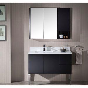 "Monaco Modern 42"" Espresso Left Bathroom Vanity Set with Mirror, Medicine & Wall Cabinet and Chrome Legs"