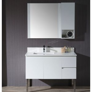 """Monaco Modern 42"""" Matte White Left Bathroom Vanity Set with Mirror, Wall Cabinet and Chrome Legs"""