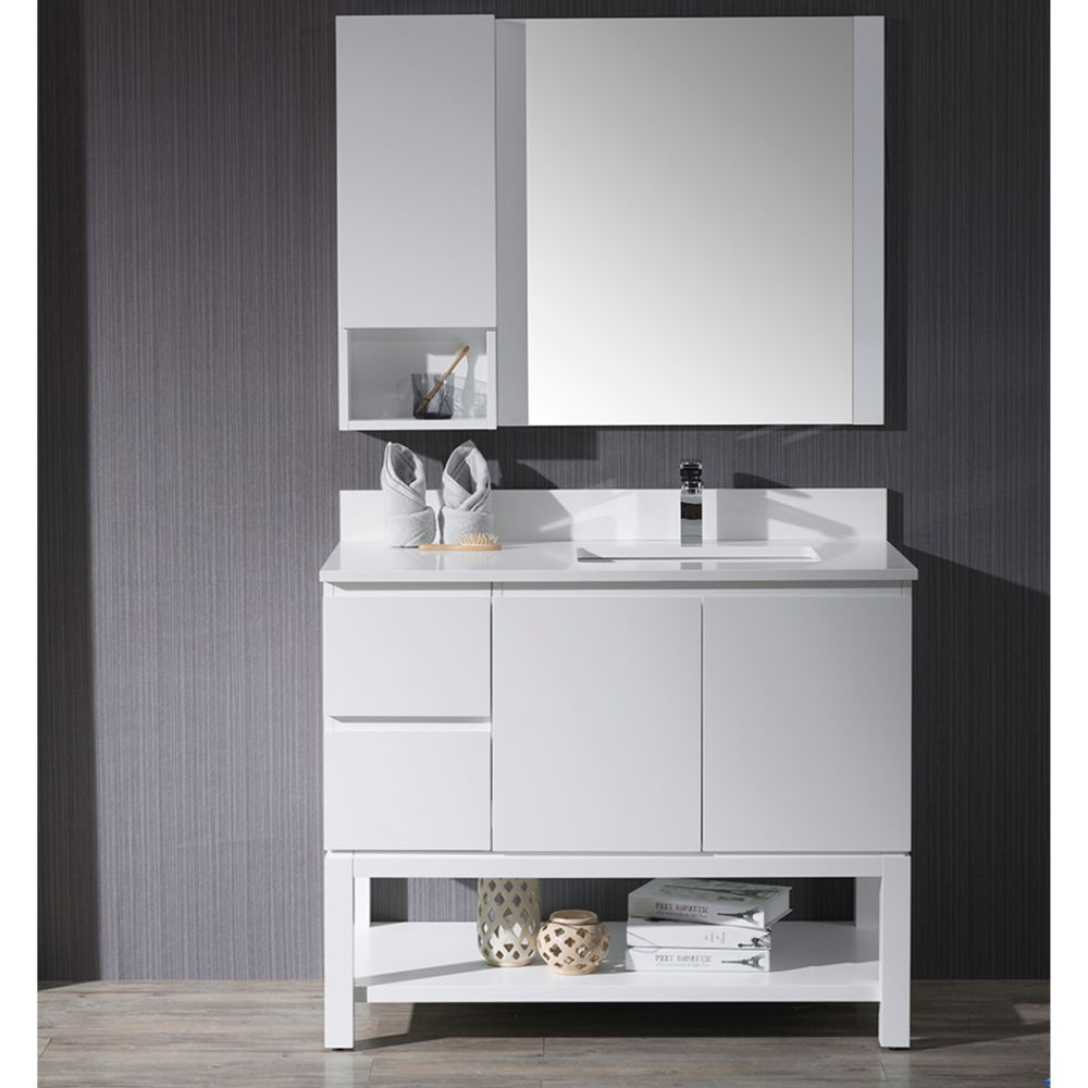 "Monaco Modern 42"" Matte White Right Bathroom Vanity Set with Mirror, Wall Cabinet and Wood Legs"