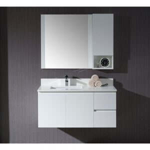 """Monaco Modern 42"""" Matte White Wall Mount Left Bathroom Vanity Set with Mirror and Wall Cabinet"""