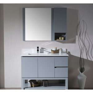 "Monaco Modern 42"" Metal Gray Left Bathroom Vanity Set with Mirror, Medicine & Wall Cabinet and Wood Legs"