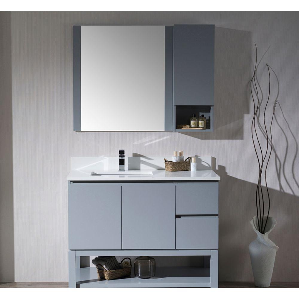 "Monaco Modern 42"" Metal Gray Left Bathroom Vanity Set with Mirror, Medicine & Wall Cabinet and Wood Legs"