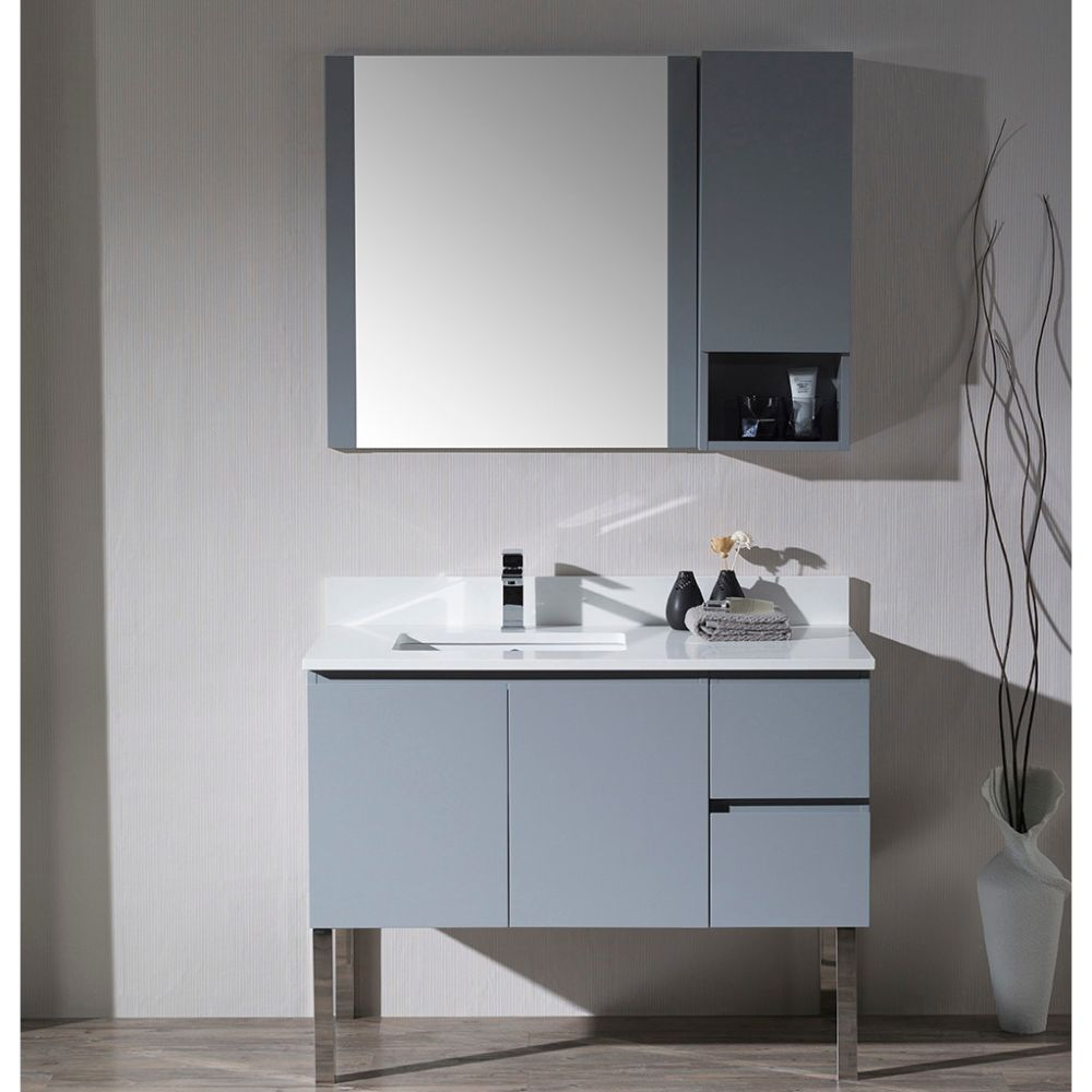 "Monaco Modern 42"" Metal Gray Left Bathroom Vanity Set with Mirror, Wall Cabinet and Chrome Legs"