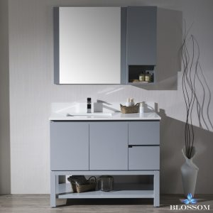 "Monaco Modern 42"" Metal Gray Left Bathroom Vanity Set with Mirror, Wall Cabinet and Wood Legs"