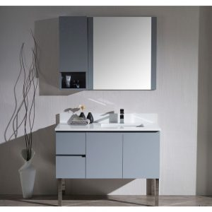 "Monaco Modern 42"" Metal Gray Right Bathroom Vanity Set with Mirror, Wall Cabinet and Chrome Legs"