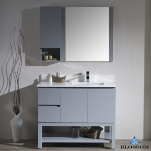 "Monaco Modern 42"" Metal Gray Right Bathroom Vanity Set with Mirror, Wall Cabinet and Wood Legs"