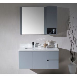 "Monaco Modern 42"" Metal Gray Wall Mount Left Bathroom Vanity Set with Mirror and Wall Cabinet"
