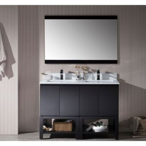 "Monaco Modern 48"" Espresso Double Bathroom Vanity Set with Mirror"