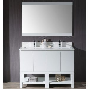 "Monaco Modern 48"" Matte White Double Bathroom Vanity Set with Mirror"