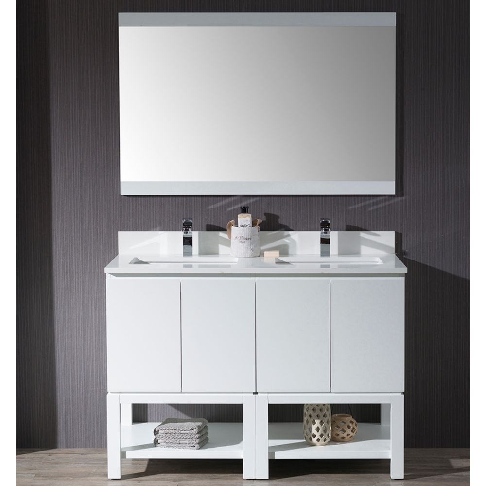 "Monaco Modern 48"" Matte White Double Bathroom Vanity Set with Mirror"