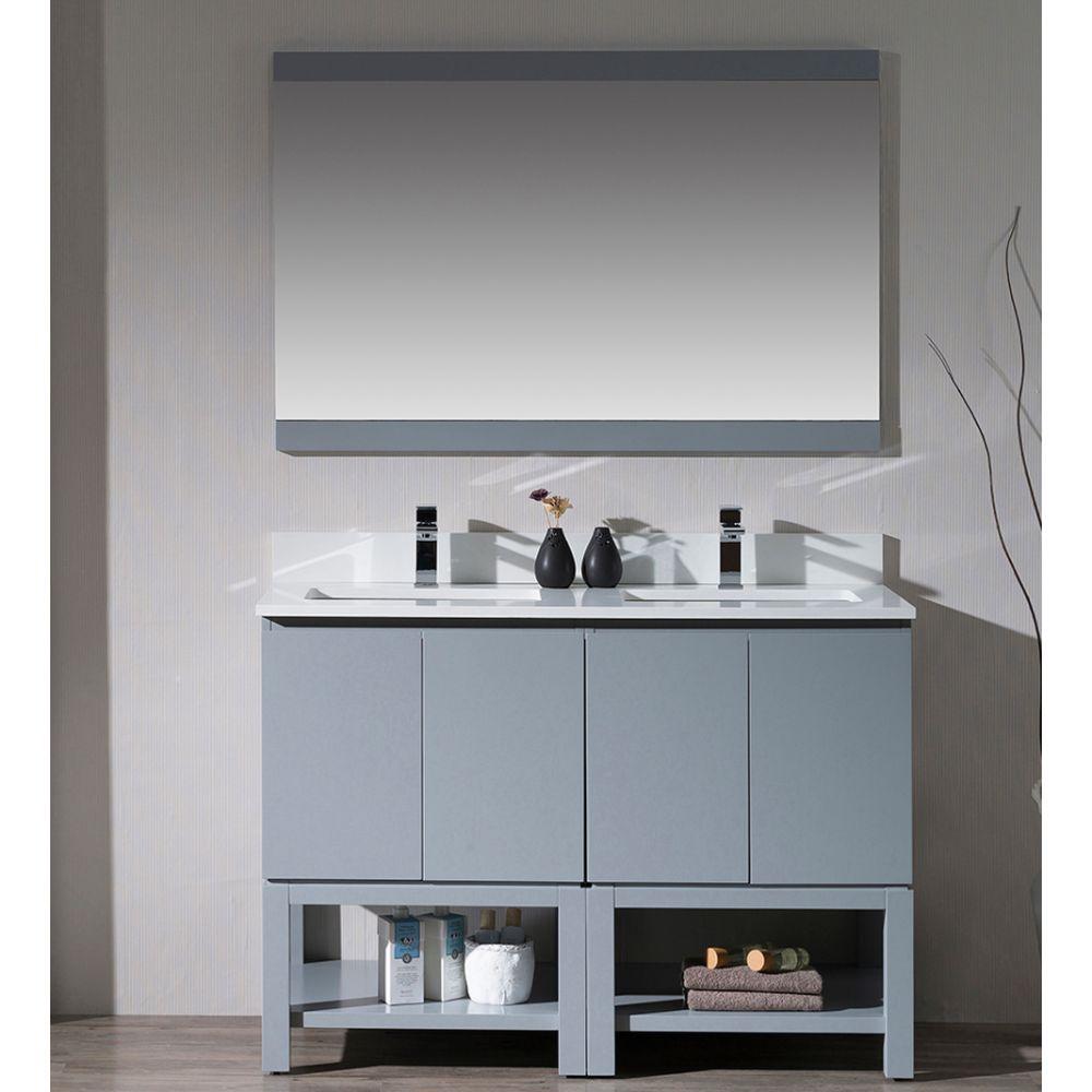 "Monaco Modern 48"" Metal Gray Double Bathroom Vanity Set with Mirror"