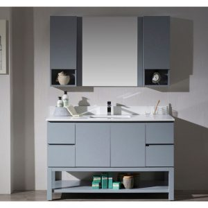 "Monaco Modern 54"" Metal Gray Bathroom Vanity Set with Mirror and Wall Cabinets"