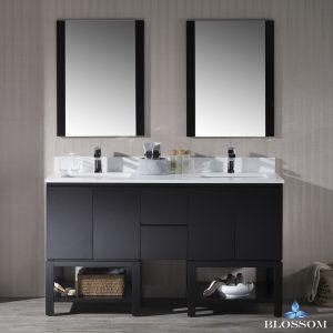 "Monaco Modern 60"" Espresso Double 24 Bathroom Vanity Set with Mirror"