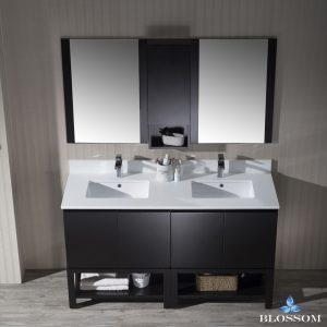 "Monaco Modern 60"" Espresso Double 30 Bathroom Vanity Set with Mirror and Wall Cabinet"