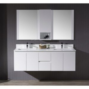 "Monaco Modern 60"" Matte White Double 24 Wall Mount Bathroom Vanity Set with Mirror and Wall Cabinet"