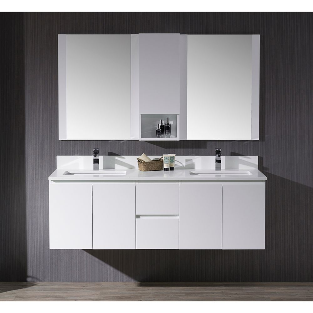 """Monaco Modern 60"""" Matte White Double 24 Wall Mount Bathroom Vanity Set with Mirror and Wall Cabinet"""