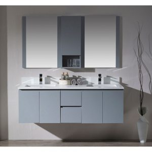 "Monaco Modern 60"" Metal Gray Double 24 Wall Mount Bathroom Vanity Set with Mirror and Wall Cabinet"