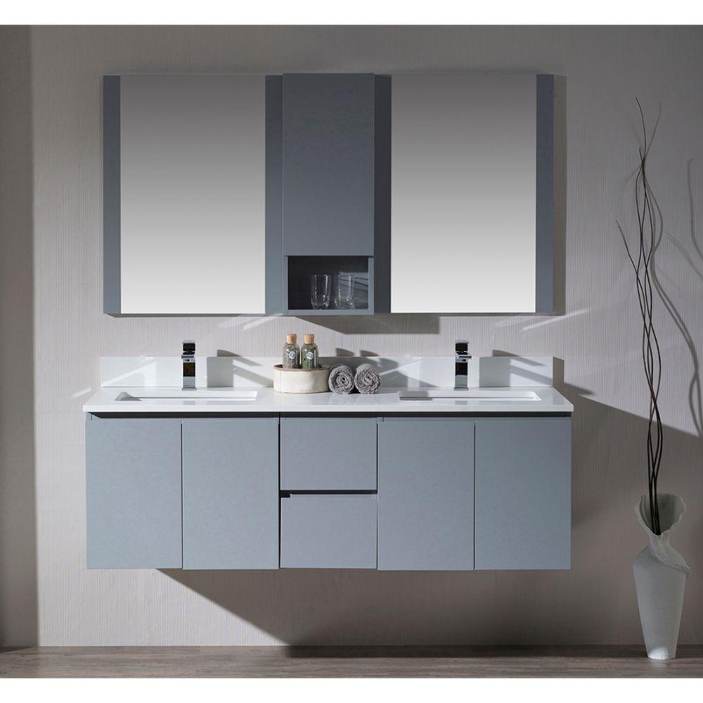 "Monaco Modern 60"" Metal Gray Double 24 Wall Mount Bathroom Vanity Set with Mirror and Wall Cabinet"