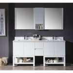 Monaco Modern 72″ Matte White Double Bathroom Vanity Set with Mirror and Wall Cabinet