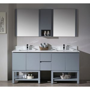 "Monaco Modern 72"" Metal Gray Double Bathroom Vanity Set with Mirror and Wall Cabinet"