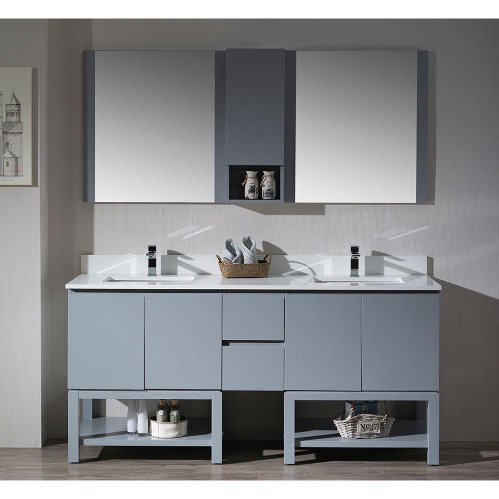 "Monaco Modern 72"" Metal Gray Double Bathroom Vanity Set with Mirror and Wall Cabinet"