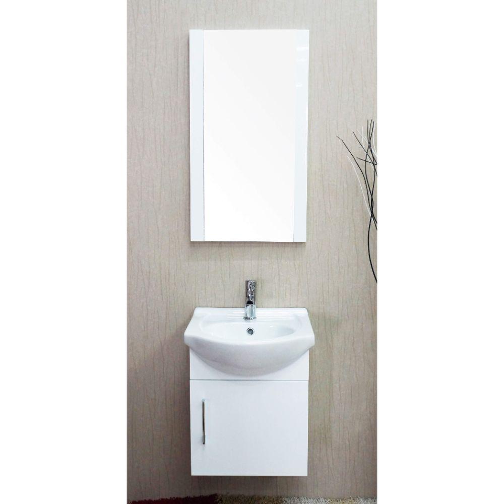 "Naples 18"" Glossy White Bathroom Vanity Set with Mirror"