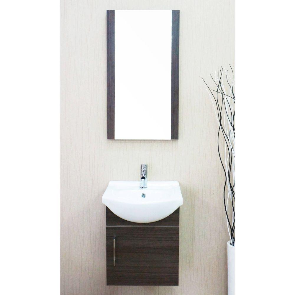"Naples 18"" Gray Oak Bathroom Vanity Set with Mirror"