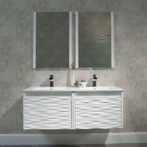 Paris 48 inch Glossy White Wall Mount Double Bathroom Vanity Set