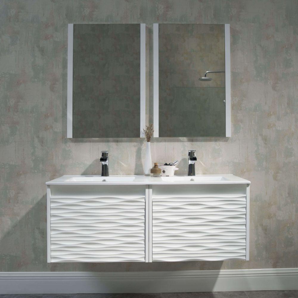 Paris 48 inch Glossy White Wall Mount Double Bathroom Vanity Set