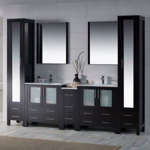 "Sydney Modern 102"" Bathroom Vanity Set with Mirror Linen Cabinet Espresso"