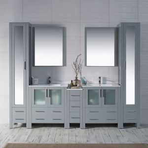 "Sydney Modern 102"" Bathroom Vanity Set with Mirror Linen Cabinet Metal Gray"