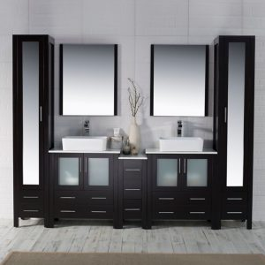 "Sydney Modern 102"" Bathroom Vanity Set with Vessel Sinks and Mirror Linen Cabinet Espresso"