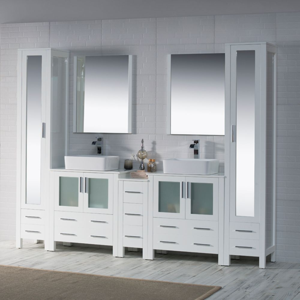 """Sydney Modern 102"""" Bathroom Vanity Set with Vessel Sinks and Mirror Linen Cabinet Glossy White"""