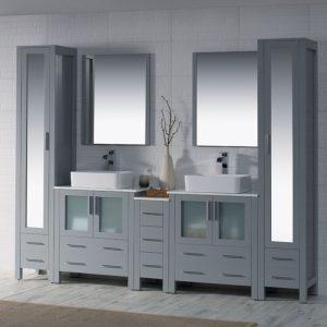 "Sydney Modern 102"" Bathroom Vanity Set with Vessel Sinks and Mirror Linen Cabinet Metal Gray"