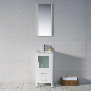 "Sydney Modern 16"" Bathroom Vanity Set with Mirror Glossy White"