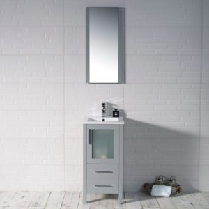 "Sydney Modern 16"" Bathroom Vanity Set with Mirror Metal Gray"