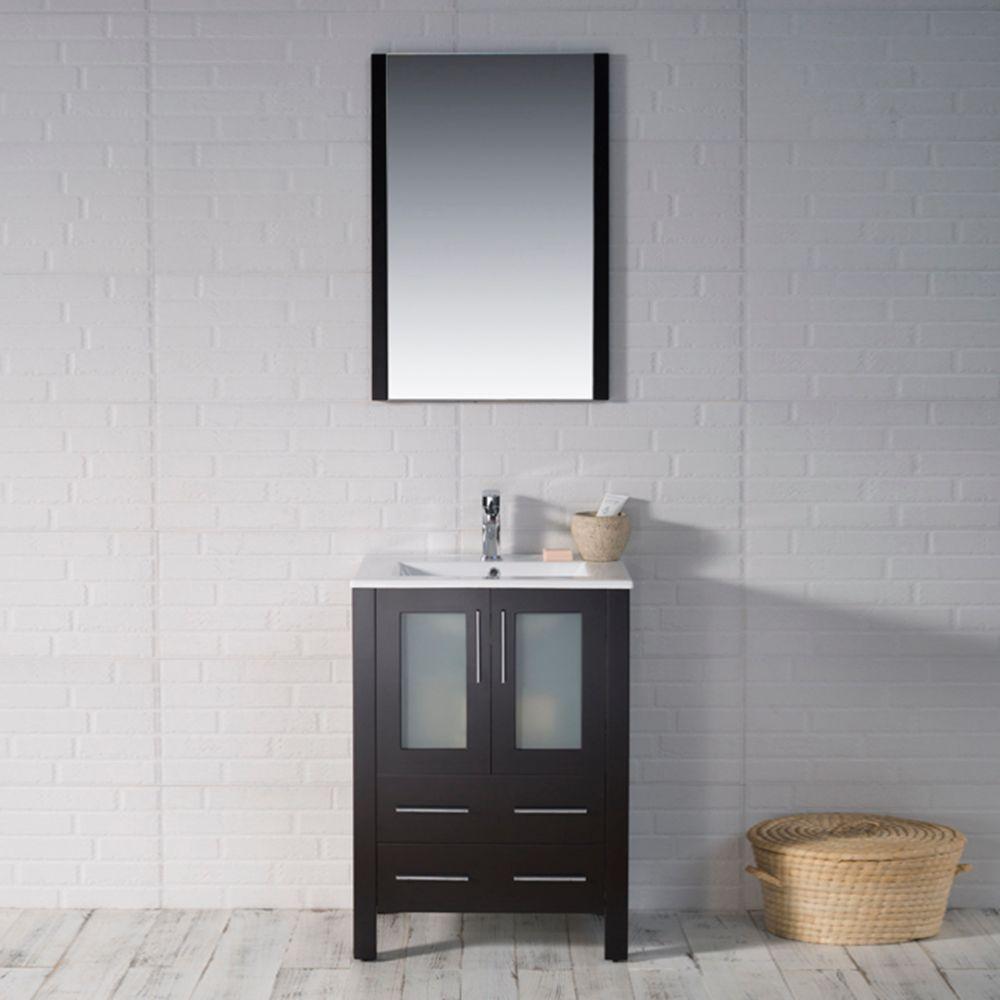 "Sydney Modern 24"" Bathroom Vanity Set with Acrylic Top and Mirror Espresso"