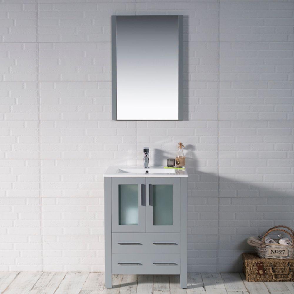 "Sydney Modern 24"" Bathroom Vanity Set with Mirror Metal Gray"